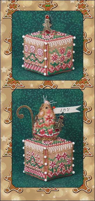 click here to view larger image of Gingerbread Garden Cube (includes embellishments) (chart with charms/buttons)