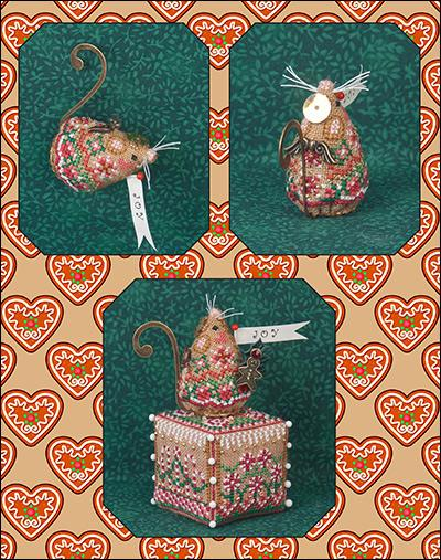 click here to view larger image of Gingerbread Angel Mouse (includes embellishments) - Limited Edition Ornament (counted cross stitch kit)