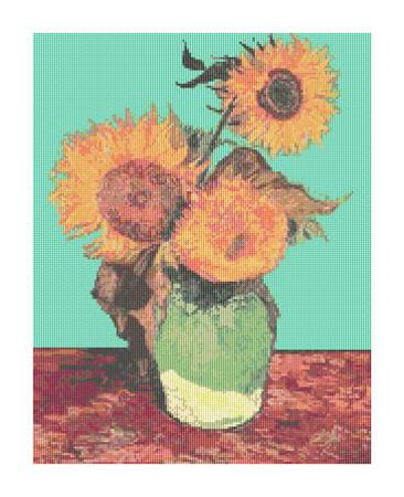 click here to view larger image of Vase with Three Sunflowers (chart)
