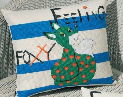 click here to view larger image of Feeling Foxy - Green (counted cross stitch kit)