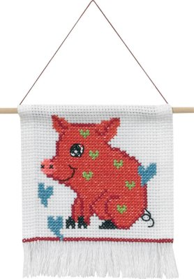 click here to view larger image of My First Kit - Pig (counted cross stitch kit)