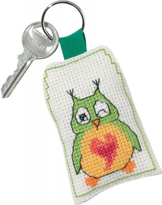 click here to view larger image of Green Owl Keyring (counted cross stitch kit)