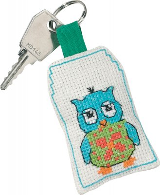 click here to view larger image of Blue Owl Keyring (counted cross stitch kit)