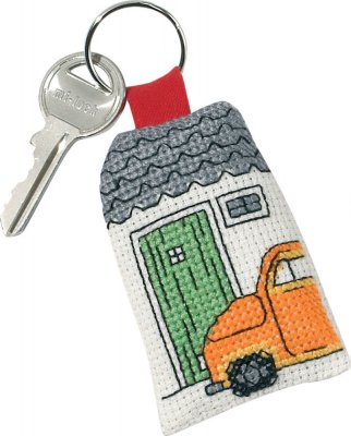 click here to view larger image of Yellow Fiat Keyring (counted cross stitch kit)