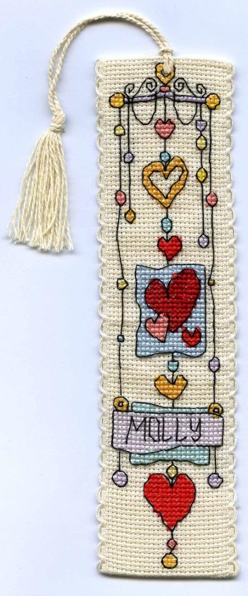 click here to view larger image of String of Hearts Bookmark (counted cross stitch kit)