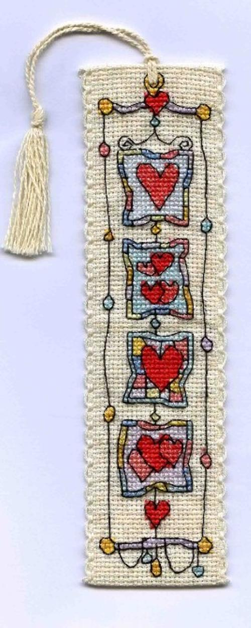 click here to view larger image of Harlequin Heart Bookmark (counted cross stitch kit)