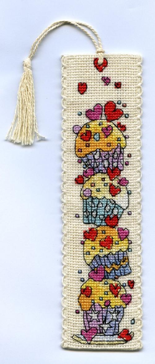click here to view larger image of Cupcakes Bookmark (counted cross stitch kit)