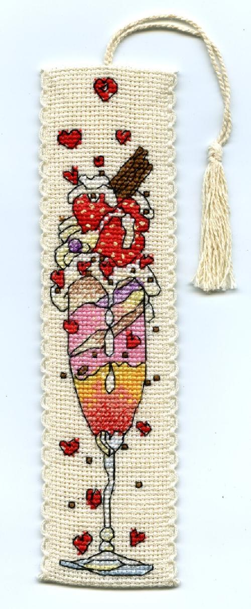 click here to view larger image of Strawberry Ice Bookmark (counted cross stitch kit)