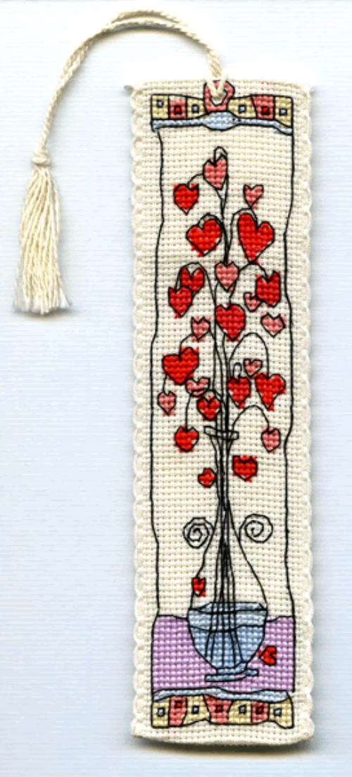 click here to view larger image of Hearts in Glass Vase Bookmark (counted cross stitch kit)