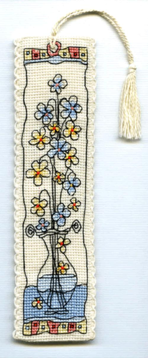 click here to view larger image of Flowers in Glass Vase Bookmark (counted cross stitch kit)
