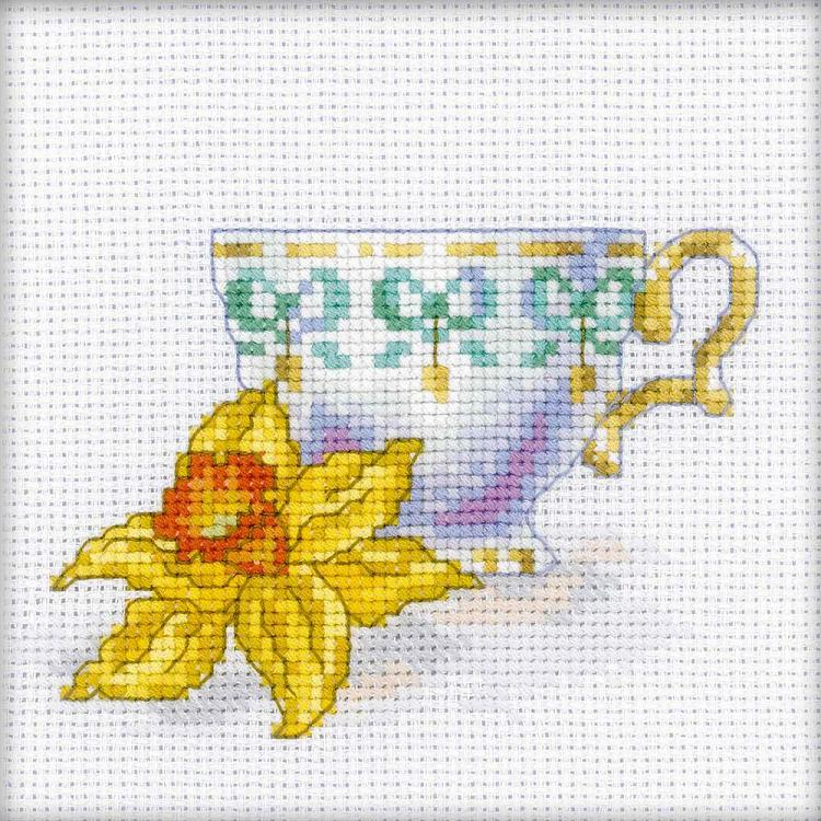 click here to view larger image of Daffodil Tea Party (counted cross stitch kit)