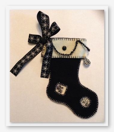 click here to view larger image of Black and White Christmas Stocking (counted cross stitch kit)