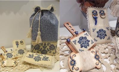click here to view larger image of Blue Elegance Sewing Bag (chart with charms/buttons)