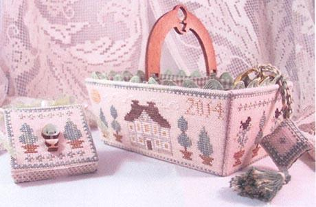 click here to view larger image of Green Days Sewing Basket (chart with charms/buttons)