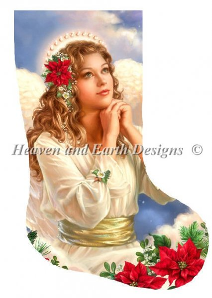 click here to view larger image of Stocking Christmas Grace Angel with Flowers (chart)