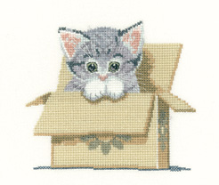 click here to view larger image of Cat In a Box - Little Darlings (Aida) (counted cross stitch kit)