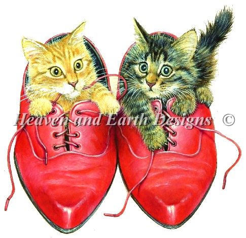 click here to view larger image of Kittens in Rons Red Shoes (chart)