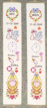 click here to view larger image of Birth Announcement Bellpull (counted cross stitch kit)