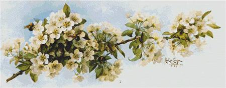 click here to view larger image of Apple Blossoms with Hummingbird and Bumblebees (chart)