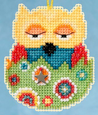 click here to view larger image of Emma Owlets - Spring Charmed Ornament series (counted cross stitch kit)