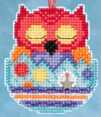 click here to view larger image of Huey Owlets - Spring Charmed Ornament series (counted cross stitch kit)