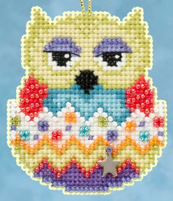 click here to view larger image of Kiwi Owlets - Spring Charmed Ornament series (counted cross stitch kit)