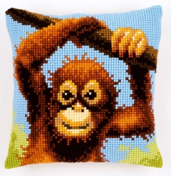 click here to view larger image of Monkey Cushion (counted canvas kit)