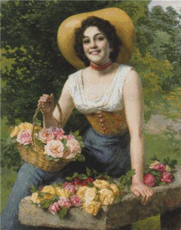 click here to view larger image of A  Beauty Holding a Basket of Roses (chart)