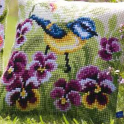 click here to view larger image of Blue Tit on Pansies Cushion (counted canvas kit)