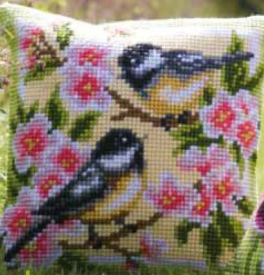 click here to view larger image of Birds and Blossoms Cushion (counted canvas kit)