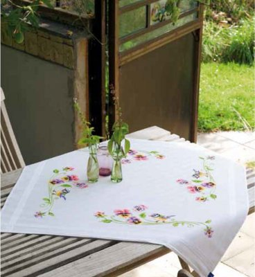 click here to view larger image of Little Birds and Pansies Tablecloth (stamped cross stitch kit)