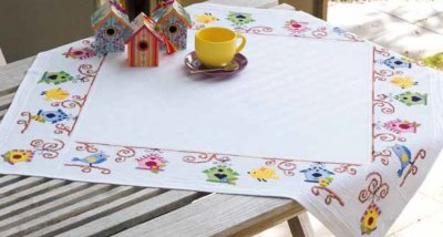 click here to view larger image of Bird and Birdhouses Tablecloth (counted cross stitch kit)