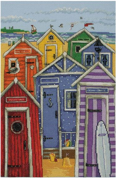 click here to view larger image of Rainbow Beach Huts (counted cross stitch kit)