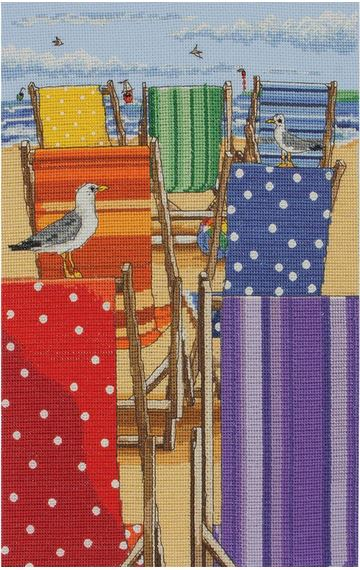 click here to view larger image of Rainbow Deck Chairs (counted cross stitch kit)