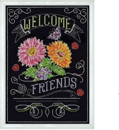 click here to view larger image of Welcome Friends Chalkboard (counted cross stitch kit)