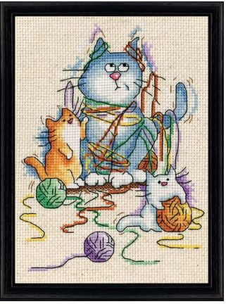 click here to view larger image of All Strung Out (Yarn Cats) (counted cross stitch kit)