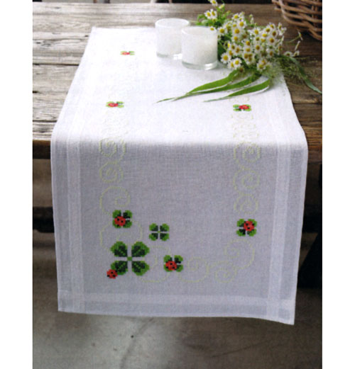 click here to view larger image of Ladybug Table Runner (stamped cross stitch kit)