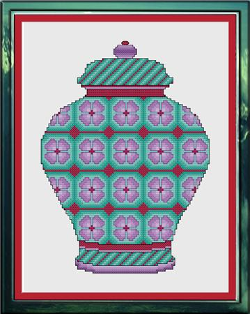 click here to view larger image of Lavender and Sea Green Floral Ginger Jar (chart)