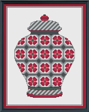 click here to view larger image of Red and Grey Floral Ginger Jar (chart)