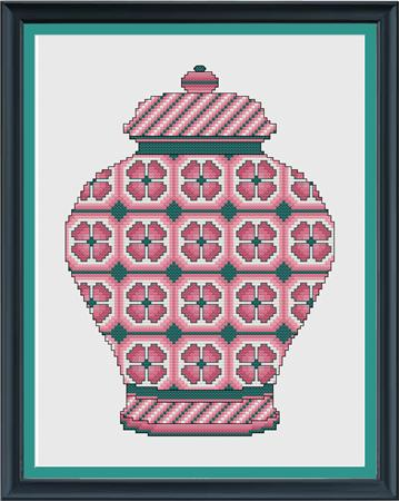 click here to view larger image of Dusty Rose Floral Ginger Jar (chart)