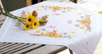 click here to view larger image of Rabbits Tablecloth (counted cross stitch kit)