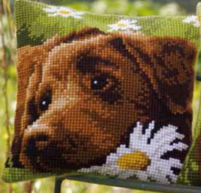 click here to view larger image of Chocolate Labrador Cushion (counted canvas kit)