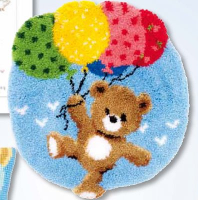 click here to view larger image of Bear With Balloons Rug (needlepoint)