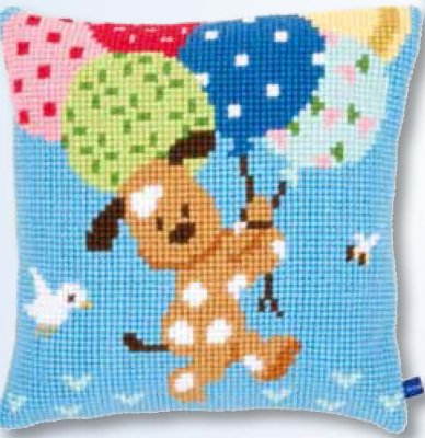 click here to view larger image of Dog with Balloons Cushion (needlepoint)