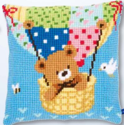 click here to view larger image of Bear in Hot Air Balloon Cushion (needlepoint)