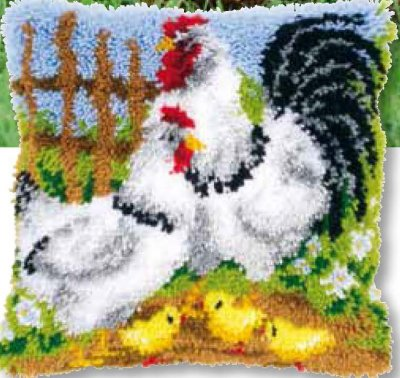 click here to view larger image of Chicken and Family Cushion (needlepoint)
