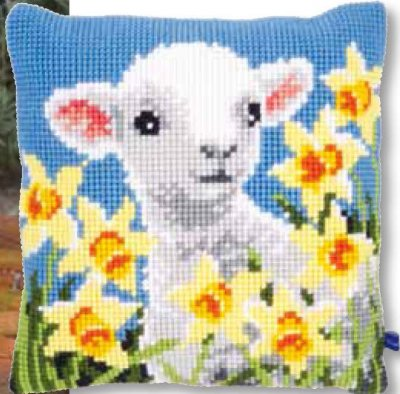 click here to view larger image of Lamb Cushion (needlepoint)