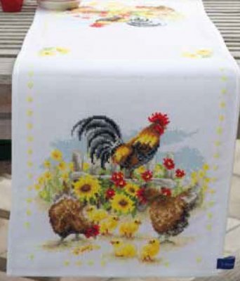 click here to view larger image of Cock-A-Doodle-Doo Table Runner (counted cross stitch kit)