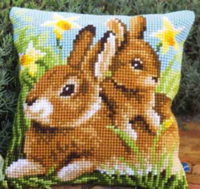 click here to view larger image of Mother and Baby Rabbit Cushion (needlepoint)