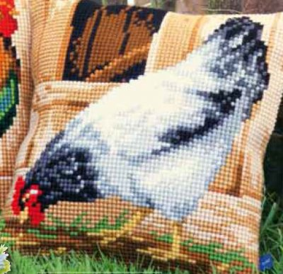 click here to view larger image of Grey Hen Cushion (needlepoint)